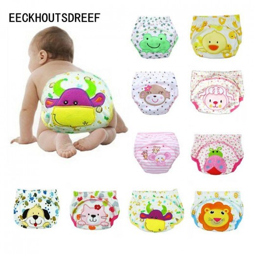 5PCS/LOT cartoon baby training pants waterproof diaper pant potty toddler panties New underwear Reusable