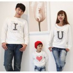 family matching clothes Autumn clothes for mother,kid and father Long-sleeve T-shirt Parent-child I LOVE YOU  Family cotton set