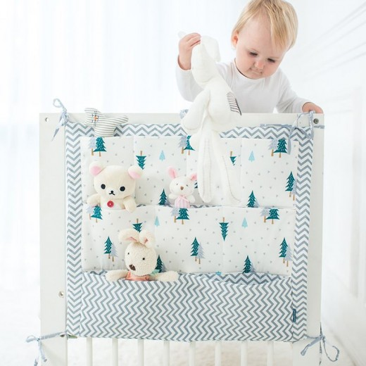 55*60cm 9 Pockets Baby Cot Bed Clothes Diaper Toys Hanging Storage Bag Organizer
