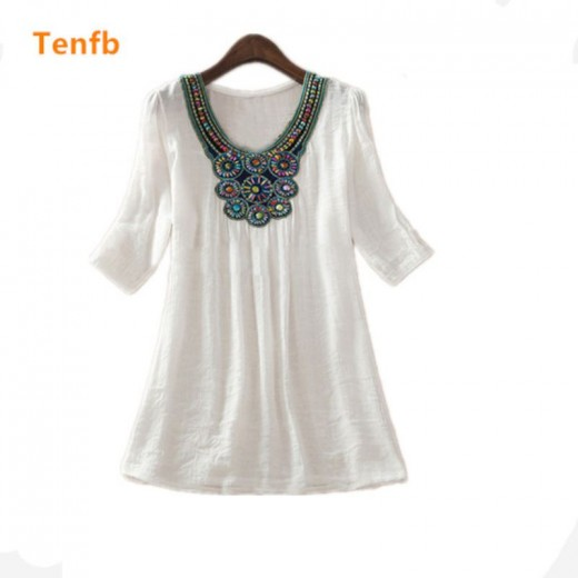 new summer maternity Floral Embroidery Loose Blouse Shirts 7 Candy Colors Casual Shirt Tops clothes for pregnant women M277