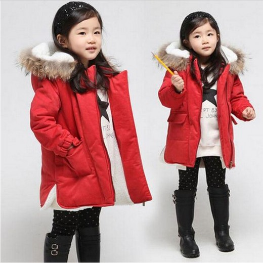 New Brand  Kid's Girls Winter Coats Thick Fashion Fur Hooded Warm Girl Solid Red Down & Parkas jacket Winter Clothes