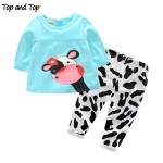 winter  baby girl clothes casual long-sleeved T-shirt+Pants suit Tracksuit the cow suit of the girls