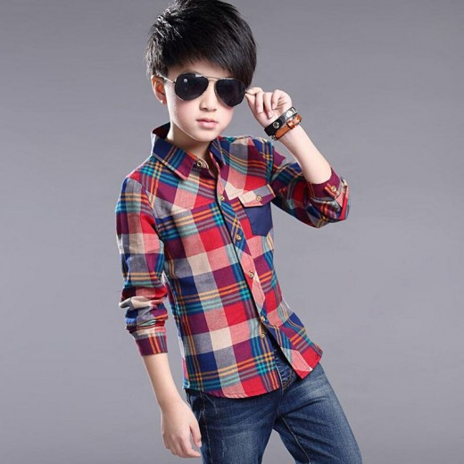 Spring Kids Clothes Fashion Casual Handsome Shirt for Children blouses Cotton Boys Plaid Long Sleeve dress Shirts