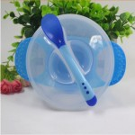 1 Set Children's Tableware Baby Learning Dishes With Suction Cup Assist Food Bowl Temperature Sensing Spoon Baby Feeding Bowl