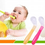 1 Pcs Baby Feeding Spoon Soft Silicone Baby Spoon Baby Spoon Feeder Flatware Lovely Gifts For Kids colher