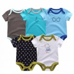 5PCS/LOT Unisex  Baby Rompers Short Sleeve Cottom O-Neck 0-12M Novel Newborn Boys&Girls Roupas de bebe Baby Clothes