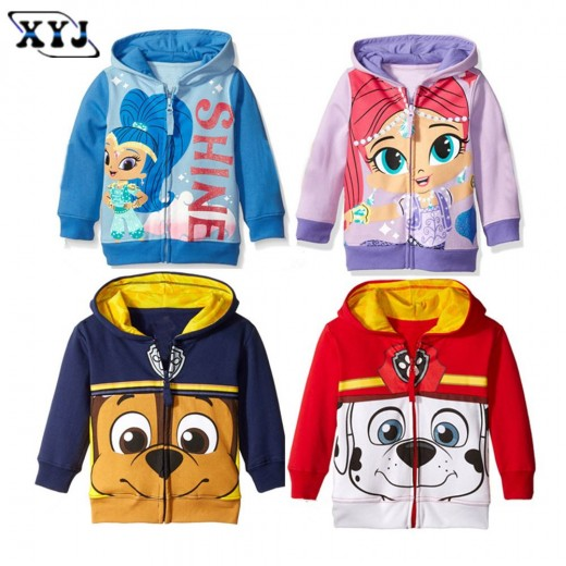 Autumn Baby Jackets Girls Hoodies Cute Printing Outwear Shimmer  Children's Clothing For Girls Sport Outwear