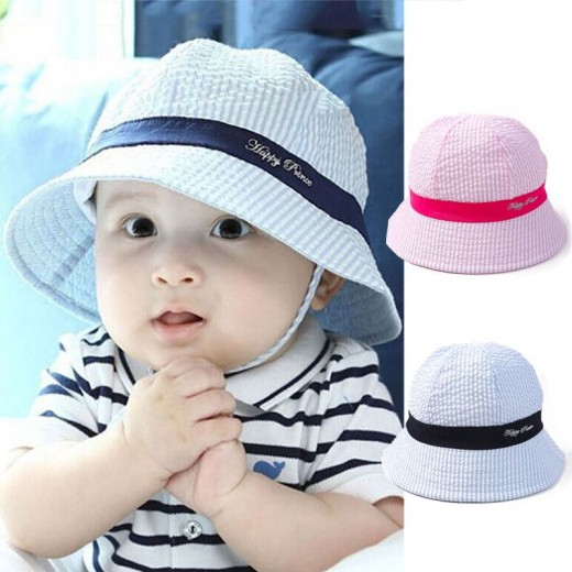 0c393218199 Summer Outdoor Baby Sun Cap Toddler Girls Boy Cotton Bucket Hat Toddler  Kids Stripe Sun Beach Hats
