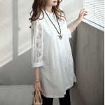 Elegant Pregnant Women Tops Lace White Shirts Fashion Solid Hollow Out Maternity Blouses Plus Size M~XXL Maternity Party Clothes