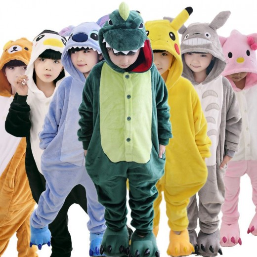 Baby Boys Girls Pajamas Autumn Winter Children Flannel Warm animal penguin Stitch panda Onesie Sleepwear totoro Pajamas for Kids