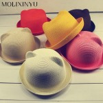 MOLIXINYU Fashion Ears Straw Hats Baby Hats For Girls Bucket Hat Boys Cap Children Sun Summer Cap Kids Solid Beach Panama Caps