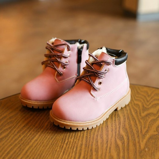 New Baby Boots Cute Pink Baby Girls Martin Boots for 1-6 Years Old Children Shoes Fashion Boots  Kids Work Boots Hot 21-30