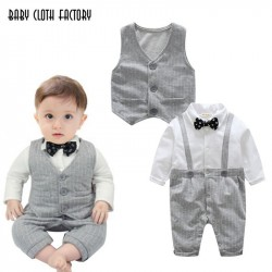 Autumn Fashion Baby boy clothes sets newborn Gentleman Cotton Tie Rompers+Vest 2pcs baby suits Infant Casual Clothing