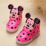 New fashion LED lighting children casual shoes Mickey lovely boys girls sneakers Cartoon Elegant baby kids boots size 21~30