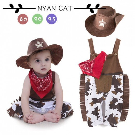 Nyan Cat Baby boy romper costume infant toddler cowboy clothing set 3pcs hat+scarf+romper halloween purim event birthday outfits  sc 1 st  Munior.com & Buy Nyan Cat Baby boy romper costume infant toddler cowboy clothing ...