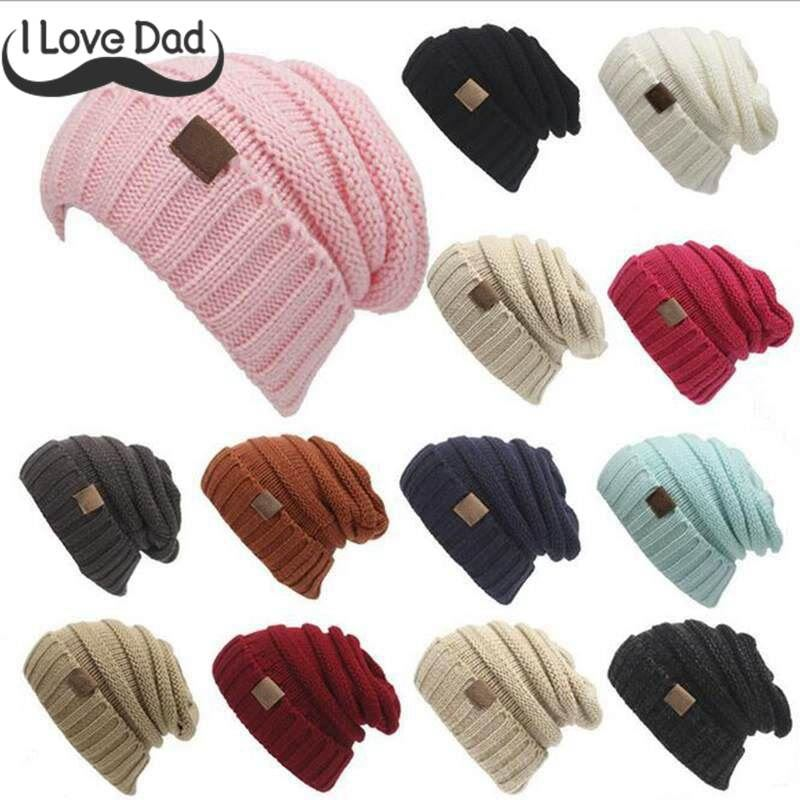 95364702f39 Winter Children Knitted Warm Cap Folds Casual Labeling Baby Hat Solid Color  Hip-Hop Skullies Beanie Baby Girl Boy Baggy Caps