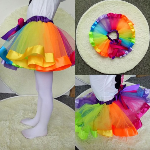 5227d3b15c Baby Girls Rainbow Tutu Skirt Kids Tulle Skirt Children Baby Tutus Dancing  Pettiskirt Cute Dancewear Princess Ballet Skirt 1-9Y