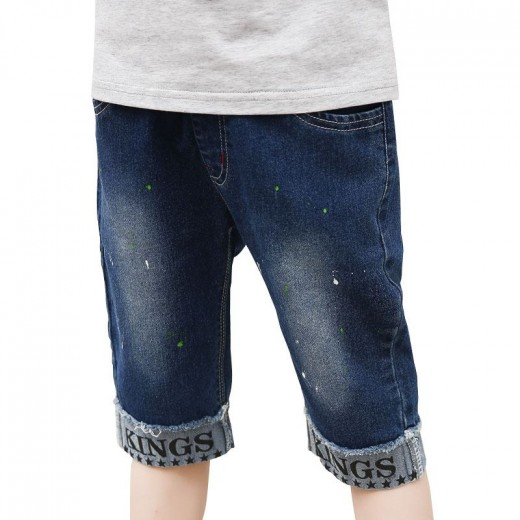 Baby Boy Fashion Mid Waist Holes Jeans Shorts Solid Kids Pants 3-14T