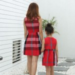 1pc Mother Daughter Dresses Clothing Family Matching Outfits Summer Mom Girl Vestido Fashion Plaid dress Family Look