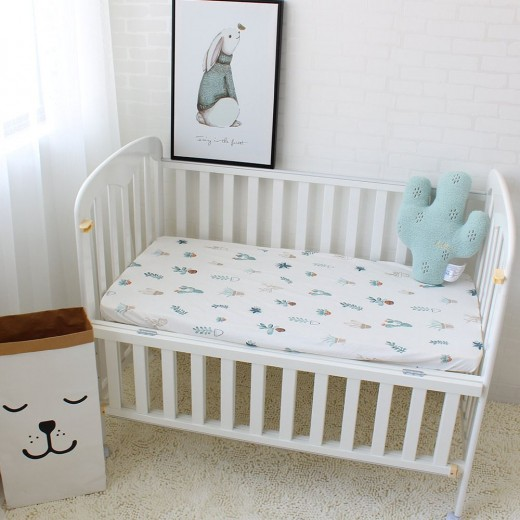 1Pcs Baby Bed Sheets Pure Cotton Cute Flamingo Crib Sheets Soft Breathable Baby Bed Linen Mattress Cover Infant Fitted Sheet