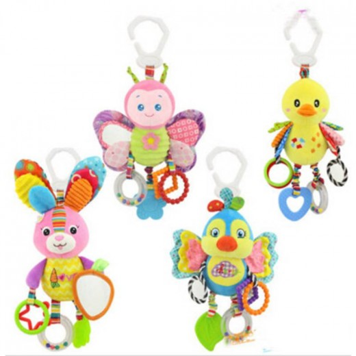 Baby Animal Rattles Toy Kids Soft Butterfly/Bird/Plush Toy Teether With Sounds Infant Stroller/Bed/Crib Hanging Toys CX890977