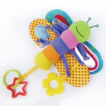 Baby Butterfly Stroller Rattles Infant Crib Mobile Plush Owl Bear Handbell Toddler Musical Doll Bed Hanging Toys with Teether