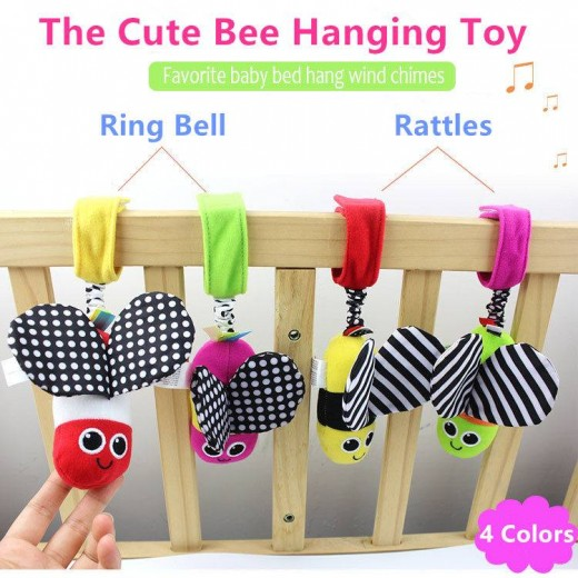 Baby Rattles hanging Bee with sound Cute Animal Infant Baby Crib Stroller Toy 0-12 months Plush Butterfly Bed Play Doll