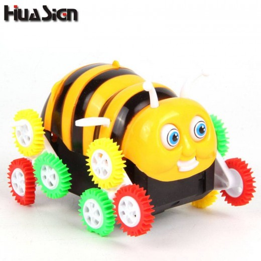 Kids Cute Funny Gifts Electric Colorful Cartoon 9 wheels Bee 360 Degree Tumbling Car Toy