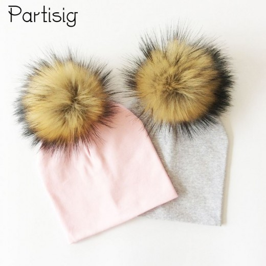 Children Autumn Baby Winter Hat Artificial Raccoon Cap Faux Fur Ball Hat Cotton