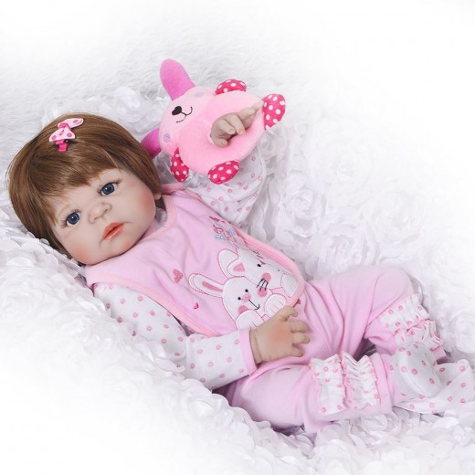 "15/"" Realistic Vinyl Silicone Newborn Baby Dolls with Clothes Pacifier Bottle"