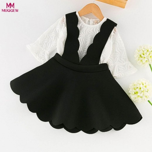 Toddler Kids Baby Girls Outfits Clothes Lace Tulle T-shirt Tops+Braces Dress Set A-Line Lace Solid Black White Cute Dress
