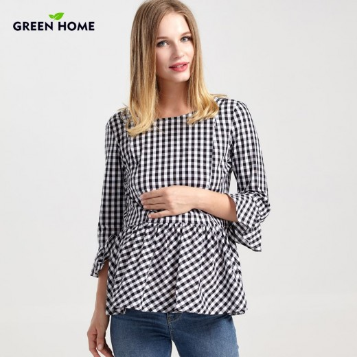 Green Home Winter Maternity Clothing Thicken Striped Stitching New Special Design Nursing Clothes For Pregnancy Women Maternity