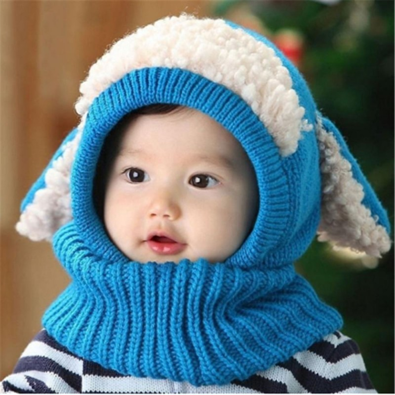 7cf325a261e ... Cute Baby Rabbit Ears Knitted Hat Infant Toddler Winter Warm Hat  Beanies Cap with Hooded Scarf ...