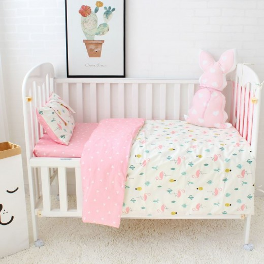 3 Pcs Set Baby Bedding Pure Cotton Flamingo Grey Cloud Pattern Crib Kit Including Pillowcase Duvet Cover Cot Flat Sheet