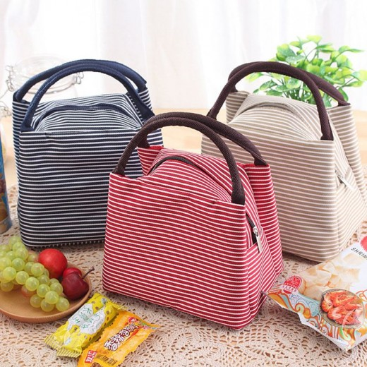 Baby Milk Bottle Mummy Bag Canvas Stripe Insulated Cooler Bags Thermal Food Picnic Lunch Tote Bags Infant Baby Lunch Box Bag