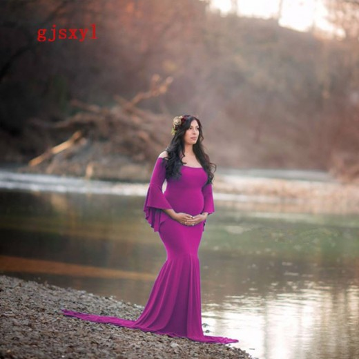 da04716fec7 Women Mermaid Skirt Maternity Photography Props Gown Pregnancy Lace Dresses  For pregnant Photo Shoot Clothing