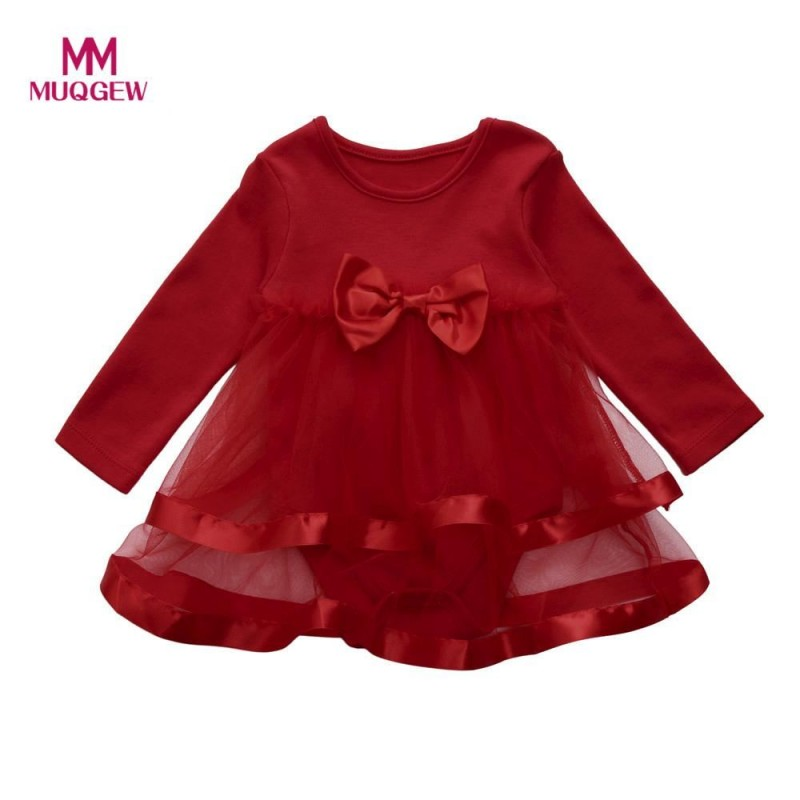 Baby Girls Infant Tutu Bow Dress Jumpsuit Princess Party Romper Dress Clothes