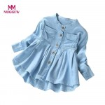 MUQGEW baby girl T-Shirt Toddler Kid Baby Girls Denim Ruched Long Sleeve T Shirt Tops Blouse Clothing New Spring Cotton Clothing